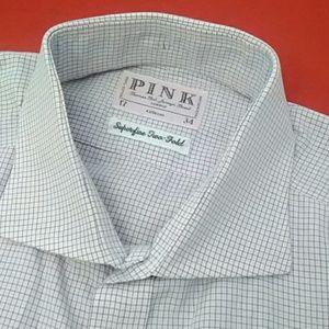 Thomas Pink Dress Shirt 17 34 French Cuff EUC